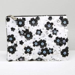 ASOS Mono Floral Embellished Zip Top Clutch Bag
